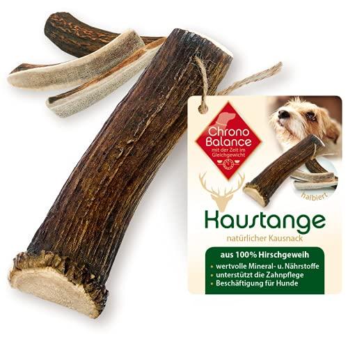 ChronoBalance® Geweih-Kaustange XL (halbiert) für Hunde - 100% Hirschgeweih - Kauspielzeug, Zahnpflege, Kausnack, Geweih, Kauknochen, Kaugeweih