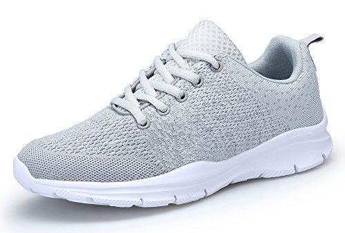 DAFENP Sportschuhe Laufschuhe Atmungsaktiv Leichte Turnschuhe Gym Fitness Sneaker für Herren Damen XZ747-M-gray-37EU