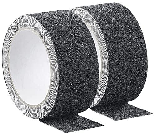 AGT Antirutschband: 2er-Set Anti-Rutsch-Klebeband schwarz, robust, wasserfest, 48 mm x 4 m (Antirutsch Klebestreifen)