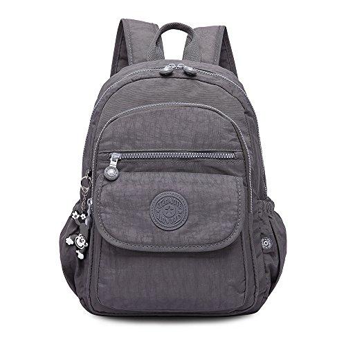 Rucksack Handtasche für Frauen,Damen Schultasche Kleine Leichte Nylon wasserdichte Multi-Taschen Uni Freizeit Starke Daypack Rucksack für Mädchen 1503-grau