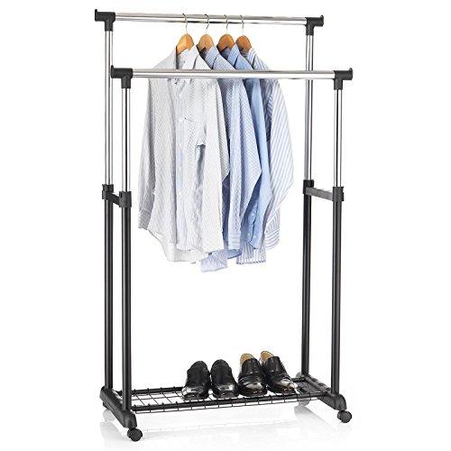 IDIMEX Garderobenwagen Grosso Kleiderständer Rollgarderobe Garderobenständer, mit Schuhablage, 2 Kleiderstangen, höhenverstellbar, Metallrohr verchromt, in schwarz