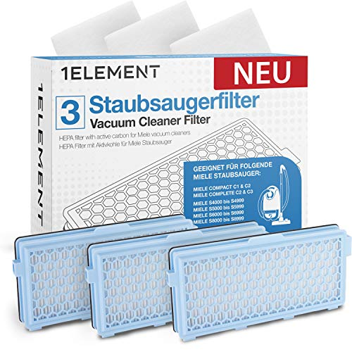 3 Filter für Miele Staubsauger [Compact C1 & C2, Complete C2 & C3, S8340] – 3 HEPA Filter + 3 Motorfilter für Allergiker gegen Feinstaub/Gerüche [S4000, S5000, S6000 & S8000 Series] Einführungsangebot