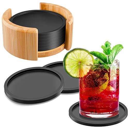 ORIMIO Silikon Untersetzer Rund für Gläser 8er Set Ink. Box, Glasuntersetzer Schwarz Anti-Rutsch Spülmaschinenfest für Getränke, Bar, Tassen, Glas, Design Tischuntersetzer Silicone Coasters
