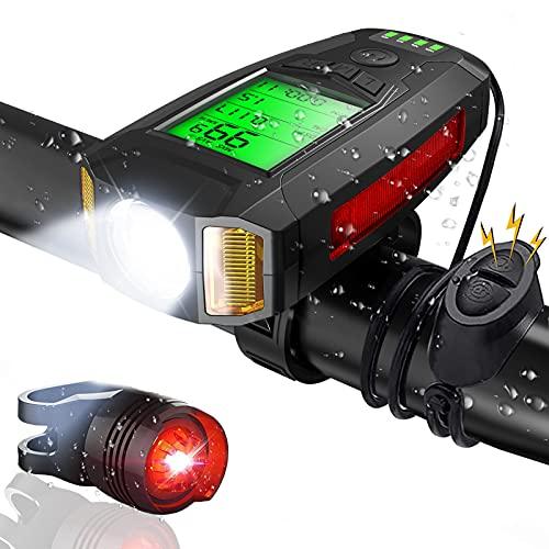CrazyFire LED Fahrradlicht mit Fahrradcomputer Wiederaufladbarer Fahrradbeleuchtung mit Lauter Glocke Rücklicht 5 Beleuchtungsmodi Radfahren Taschenlampe Wandern Camping Alle Mountain & Rennrad