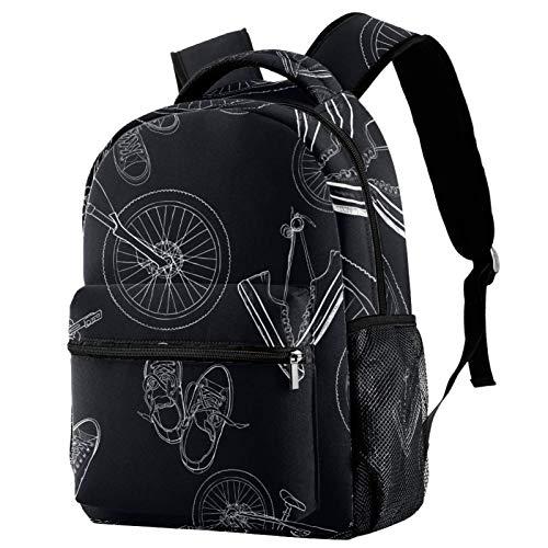 Rucksack handgezeichnete Mountainbikes und Sneakers Schultasche Rucksack Reise Casual Daypack für Frauen Teenager Mädchen Jungen