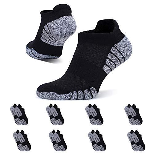 YouShow 8 Paar Sneaker Socken Herren Damen Sportsocken Laufsocken Atmungsaktiv Baumwolle Gepolsterte Kurze Halbsocken Schwarz 43-46