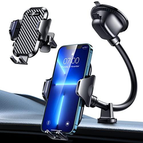 VANMASS Handyhalterung Auto Bombenfest Flexibel 3 in 1 Saugnapf & Lüftung Handyhalter Für Auto Doppel-Stuetze Universal Kfz Handyhalterung 100% Silikonschutz Für Alle Handy iPhone Samsung Huawei LG
