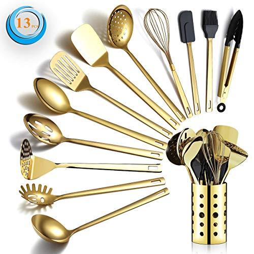Berglander Gold Kochutensilien Set, Edelstahl 13 Stück Küchenutensilien Set mit Titan Vergoldung, Küchengeräte Set mit Utensilienhalter, spülmaschinenfest, leicht zu reinigen