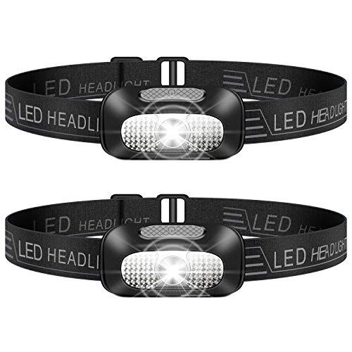 Stirnlampe LED, 2 Stück Leichtgewichts Kopflampe, Superheller USB Wiederaufladbare Wasserdicht Stirnleuchte für Outdoor, Camping, Fischen, Laufen, Joggen, Wandern, Lesen, Arbeiten