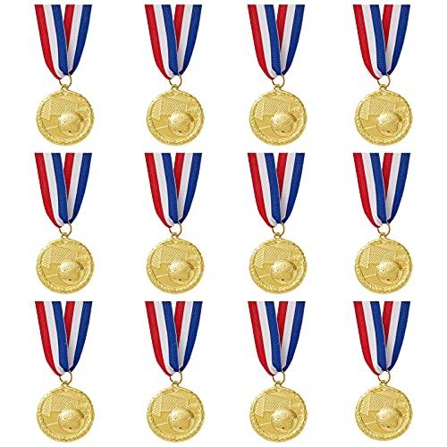 12 Stück Goldfarbene Medaillen am Band mit Fußball und Tor-Emblem, Metall mit Zinklegierung, Durchmesser 5 cm
