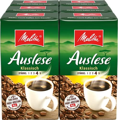 Melitta Gemahlener Röstkaffee, Filterkaffee, kräftig mit rundem Aroma, Stärke 4, Auslese Klassisch, 6er Pack (6 x 500 g)