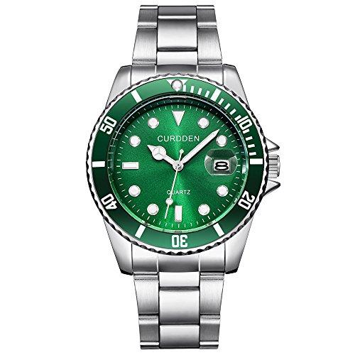 Challeng Herrenuhr Damenuhr Militär-Edelstahl-Datums-Sport-Quarz-Analoge Armbanduhr Wasserdicht Elegante Uhr (E, One Size)