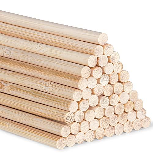 AUSYDE Bambusstäbe zum Basteln 30cm, Bastelstäbe Runder Stock, 55 Stück 6mm/0.24inch Holz, Rundhölzer zum Basteln, Hochwertige Bambusstock