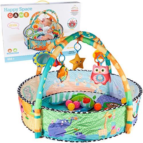 MalPlay Kinder Bällebad 80cm | Kugelbad Zelt mit Spielbogen, Spieldecke für Baby | 30 Bällchen im Set | Lernspielzeug für Jungen und Mädchen Kleinkind ab 6 Monaten