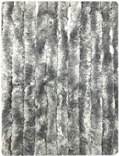Moritz Flauschvorhang aus Chenille 90 x 220 cm grau Türvorhang als Fliegenschutz Insektenschutz für Camping Wohnwagen