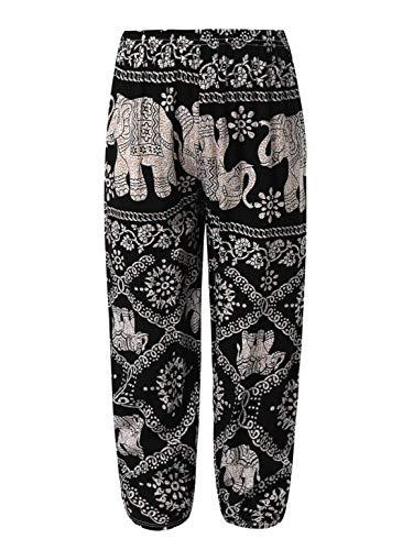 TiaoBug Mädchen Pumphose Haremshose Blumenmuster gedruckt Lässig Lange Hose Hohe Taille und Taschen und Dehnbund Schwarz Elefant 146-152