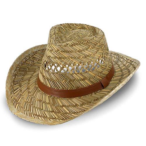 fiebig Australier Strohhut für Damen & Herren   Luftiger Cowboyhut aus Stroh   Westernhut mit Kunstlederband für Frühling & Sommer   Sonnenhut mit Einfass in vielen Größen (60)