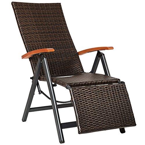 TecTake 800720 Aluminium Poly Rattan Relaxsessel mit Fußablage, klappbar & verstellbar, für Garten, Balkon & Terrasse, Gartenstuhl, witterungsbeständig - Diverse Farben - (Braun   Nr. 402218)