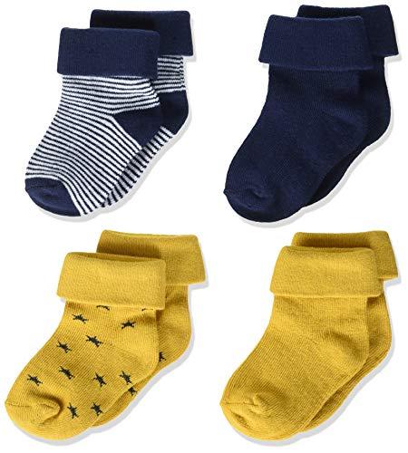 Noppies Baby Jungen B 4pck Guzz Stripe Navy, Stars Yellow Socken, ASSORTI, 3-6 Monate EU