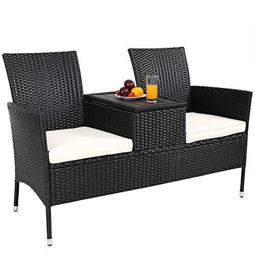Casaria Poly Rattan Gartenbank Wetterfest mit Tisch Stauraum 7cm Auflage 2-Sitzer Bank Gartensofa Kinobank Garten Möbel