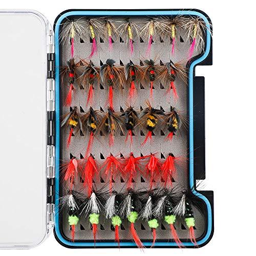 HXC Trockenfliegen-Set aus Edelstahl, 8 Fliegen, bionische Federn, Barschfliegen, Köder-Set mit wasserdichter Box, 32 Stück