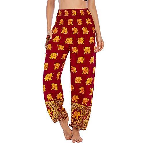 Nuofengkudu Damen Haremshosen High Waist Hippie Muster Pumphosen mit Taschen Leicht Weite Luftige Stoffhose Yogahose Sommerhose Strandhose(Einheitsgröße,W-Weinrot Elefant)