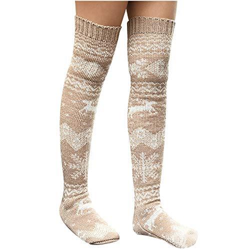 Dwevkeful Knee High Socks 1 Paar Halten Overknee Strümpfe Stricken Sport Socken Weihnachts Socken Geschenke Für Frauen Damen