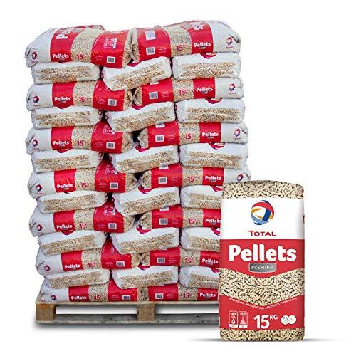Total Holzpellets Premium Heizpellets Nadelholz Wood Pellet Öko Energie Heizung Kessel Sackware 6mm 15kg x 66 Sack 990kg / 1 Palette Total