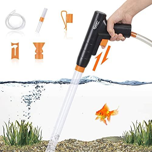 hygger Aquarium Mulmsauger, neu für schnellen Wasserwechsel mit Ansaugknopf, Aquarienkies Reinigungsset, Bodenreiniger Aquarium, Mulmglocke, Absauger für Aquarium mit Schlauchklemme