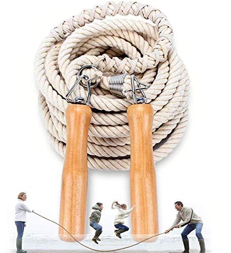 OLT-EU Lange Springseil, Mehrspieler-Seil, Springseil mit Holzgriff für Schule, Sport, Outdoor-Aktivitäten, Fitness&Training 5 m – 7 m – 10 m (5M)