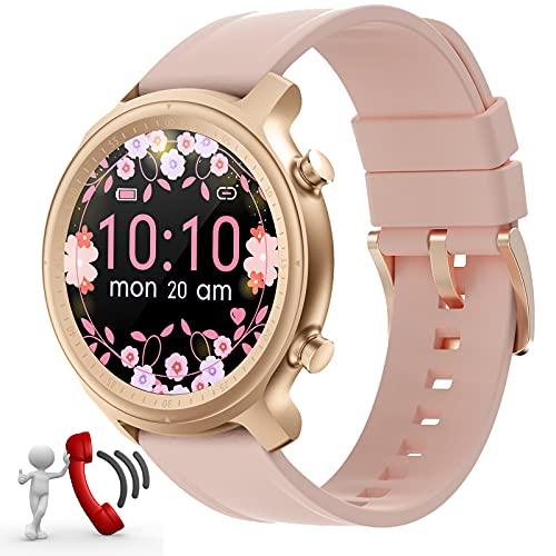 Smartwatch Damen,Smart Watch Uhren Damen mit Anrufe telefonfunktion,Android Smartwatch 1,28zoll mit Bluetooth Fitness Tracker Uhr Wasserdicht Schrittzähler Schlafmonitor Rund (Rosegold)