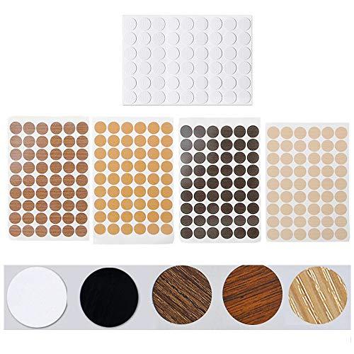5 Blatt Selbstklebende Schraubenloch Abdeckkappen für Möbel Durchmesser 21 mm(270 Stück)Abdeckung Schrauben Selbstklebende Abdeckkappen für Möbel Staubdichter Aufkleber