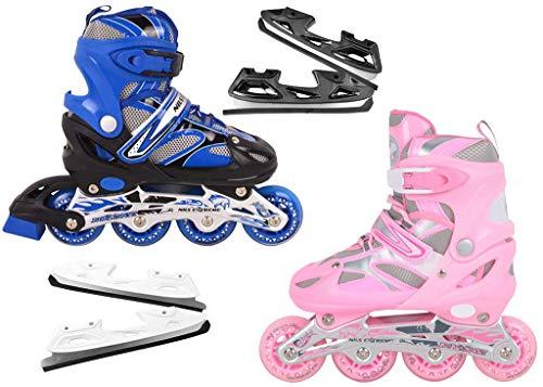 Nils Extreme inlineskates Kinder verstellbar Rollschuhe Schlittschuhe # 2in1 Inline Skates (Rosa, L(39-42))