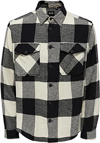 ONLY & SONS Herren ONSMILO Life LS Check Overshirt NOOS Hemd, Black, L