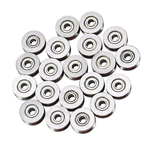 20 Stück Kugellager V623ZZ Riemenscheibe aus Karbonstahl für Linearschiene System 3 x 12 x 4 mm