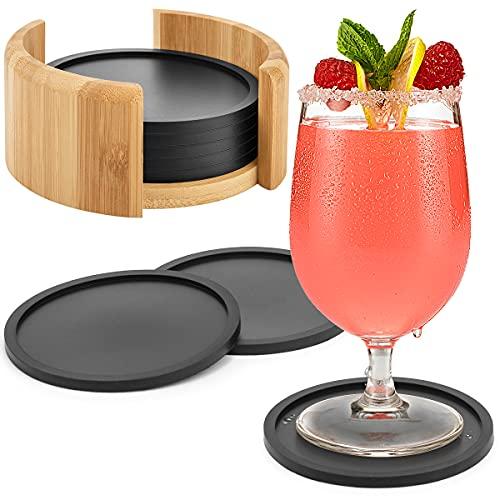 Aimego Silikon Untersetzer für Gläser Getränkeuntersetzer für Tisch und Bar Glasuntersetzer in schwarz für Getränk
