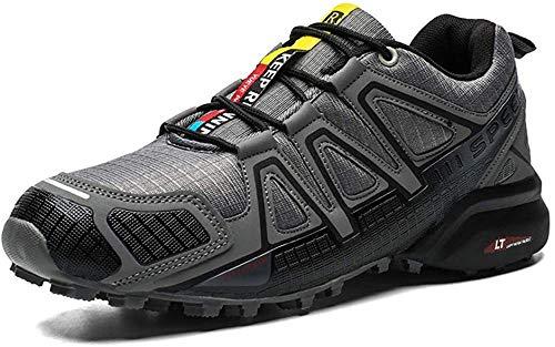 JINFAN Fahrradschuhe Herren - rutschfeste MTB Schuhe Rennradfahren Atmungsaktiver Sport Mountainbike-Sneaker Verschleißfest,Gray-43EU