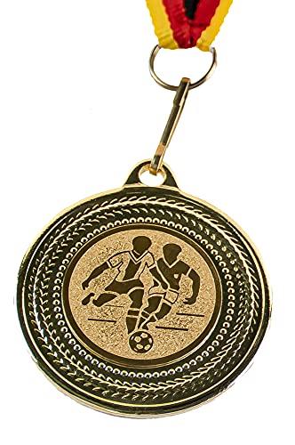 pokal-fabrik.de 10 Stück Fussball Medaillen Kindergeburtstag aus Metall mit Band und Emblem für Kinder