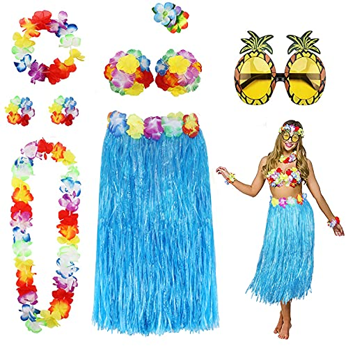 PHOGARY 8 Teilig Hawaii Mottoparty Kostüme Set, Hula Rock (Blau), Blumenkette, Blume-Armbänder, Blumen-BH, Haarblume, Ananas-Sonnenbrille für Tikiparty Beachparty Deko
