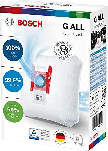 Bosch 4x Staubsaugerbeutel PowerProtect Typ G ALL, BBZ41FGALL, 99,9 Prozent Feinstaubfilterung, 50 Prozent längere Nutzungsdauer, Passend für alle aktuellen Baureihen außer BSG8, BSN1