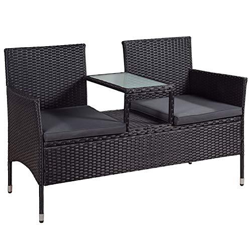 ArtLife Polyrattan Gartenbank Monaco schwarz - 2-Sitzer Bank mit integriertem Tisch & Kissen in Grau - 133 × 63 × 84 cm - Sitzbank wetterfest