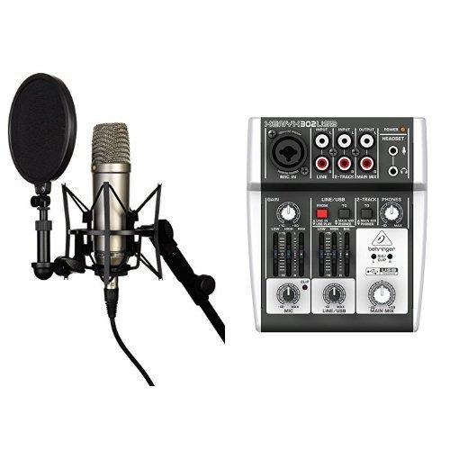 Rode NT-1A Großmembran-Kondensatormikrofon mit goldbedampfter und elastisch gelagerter 2,5 cm (1 Zoll) Nierenkapsel + Behringer XENYX 302USB 5-Input Mixer mit XENYX Mic Preamp und eingebautem USB Audio Interface Bundle