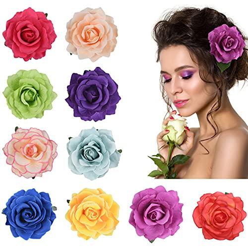 URAQT 10 Stücke Blume Haarspange, Haarclip Blume Mehrfarbig Rosen Haarnadeln Haarschmuck für Mädchen Frauen Party Strand Hochzeit