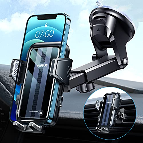 VANMASS Handyhalterung Auto Saugnapf [Brandneu Anti Wackeln] Auto Handyhalterung [Super Saugkraft] Universal Handy Halterung auto Armaturenbrett Frontscheibe Handyhalter auto für iPhone Samsung Huawei