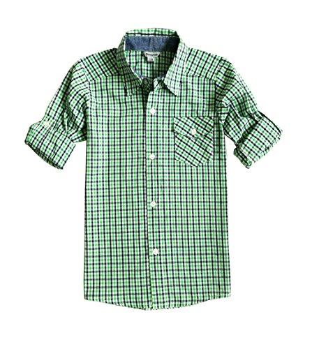 BIENZOE Jungen Baumwolle Plaid Knopf Unten Hemd Grün Größe 7/8