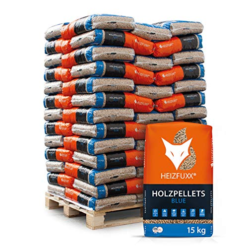 HEIZFUXX Holzpellets Blue Heizpellets Nadelholz Wood Pellet Öko Energie Heizung Kessel Sackware 6mm 15kg x 65 Sack 975kg / 1 Palette Paligo