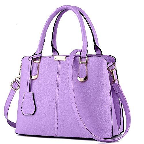 FiveloveTwo Damen Elegant PU Leder Schultertasche Shopper Top-Griff Tragetaschen Umhängetasche Große Handtasche und Geldbörsen Lila