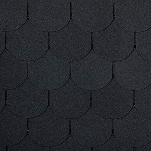 doitBau PREMIUM Bitumen Dachschindeln - Dachpappe Selbstklebend für 3m² Dachfläche in Farbe: Schwarz - 21 Stück | Biberschwanz Schindeln geeignet für Vogelhaus & Gartenhaus