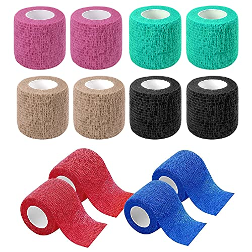 Haftbandage,12 Rollen selbstklebender verband,elastische & selbsthaftende Bandage,kohäsive fixierbinde,Elastische Binde,Cohesive Bandage,Geeignet für Sport(farbig)