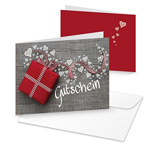 10 Stück grau weiße Geschenk GUTSCHEINE Geschenkgutschein MIT HERZEN rot karierte Schleife Kunden-Gutschein hochwertige Foto-Karten MIT KUVERT Kosmetik Liebe Hochzeit Weihnachten